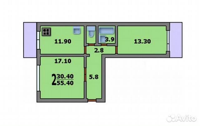 2-к квартира, 47 м², 4/5 эт. 89610016388 купить 1