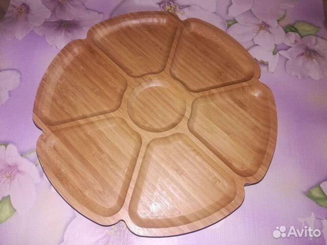 Тарелка менажница бамбуковая 6 секций 89082581913 купить 1