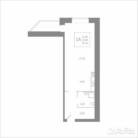 Студия, 37.4 м², 5/8 эт. 89115506177 купить 1
