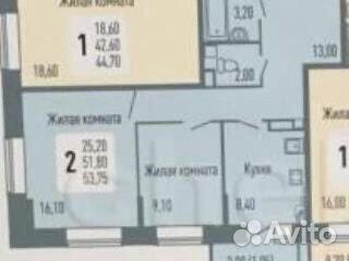 2-к квартира, 56 м², 13/16 эт.