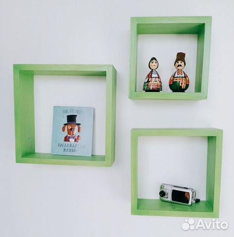 Полки деревянные интерьерные 3 шт куб купить 3