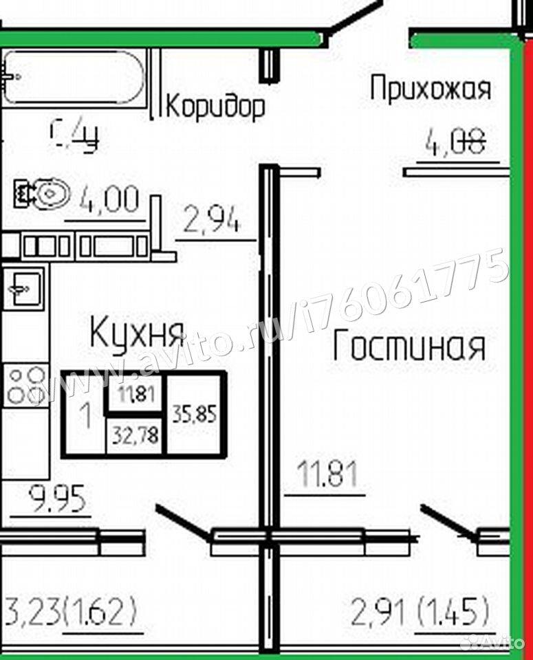 1-к квартира, 35.9 м², 6/17 эт.
